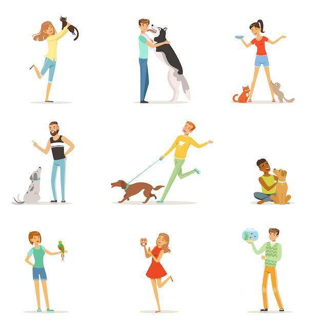 Gente felice che si diverte con animali domestici, uomini e donne che si allenano e giocano con i loro animali domestici illustrazioni Vettore Premium