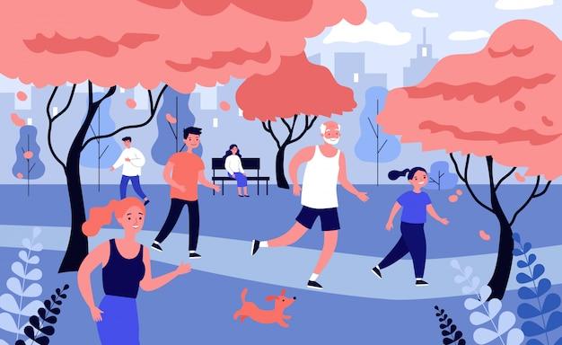La gente felice che corre nel parco cittadino in autunno Vettore Premium