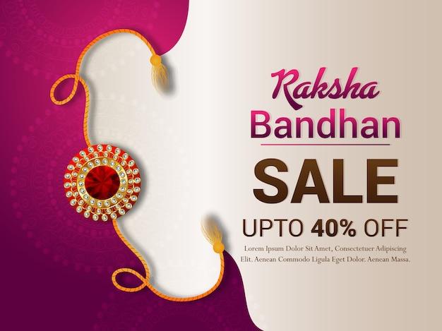 Felice design raksha bandhan con banner di vendita Vettore Premium