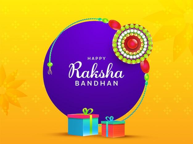 Happy raksha bandhan font con round pearl rakhi (polsino) e scatole regalo su sfondo giallo e viola. Vettore Premium