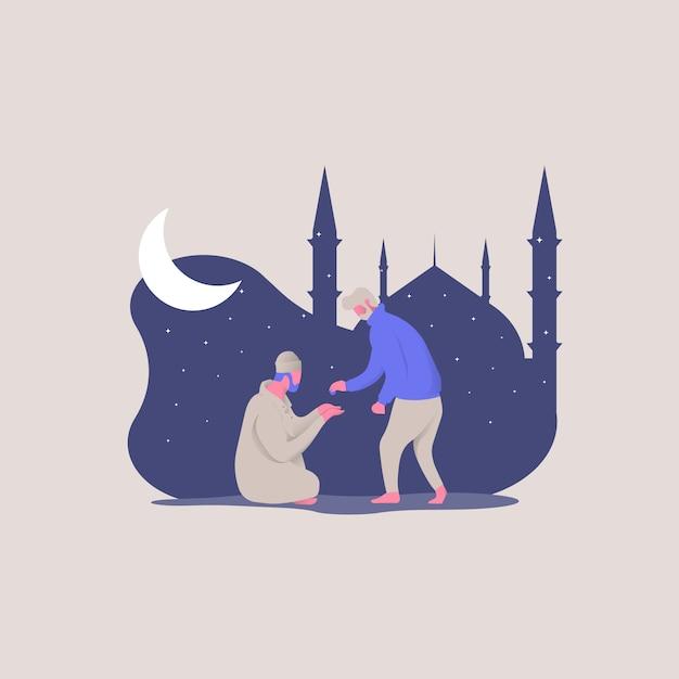 Buon ramadan kareem. giovani uomini che danno le elemosine ai poveri genitori concetto illustrazione Vettore Premium