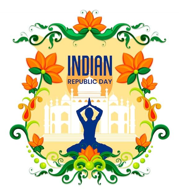 Felice festa della repubblica sfondo indiano festival Vettore Premium