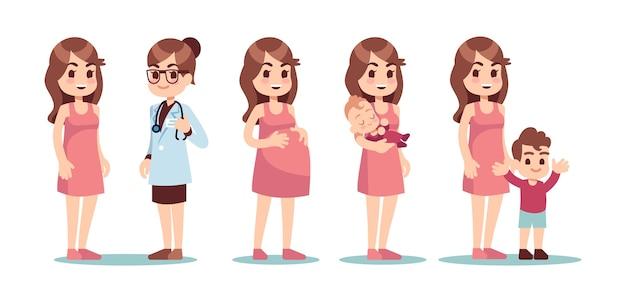 Felice madre single. concetto di vettore di fecondazione in vitro ivf. dottore, donna incinta e bambino. medico e donna incinta, feto e illustrazione di cura del bambino Vettore Premium