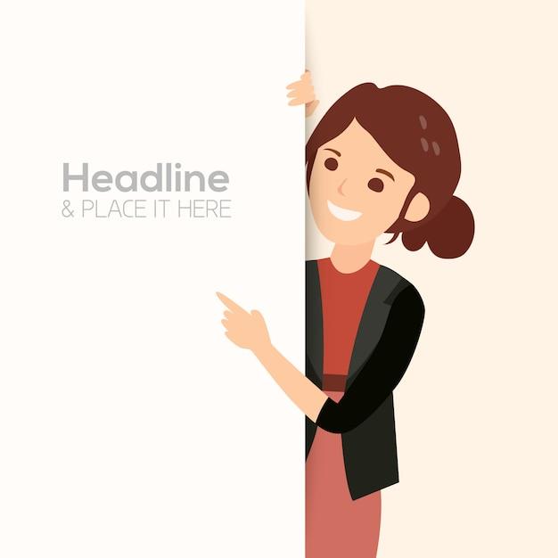 Donna d'affari sorridente felice punta il dito Vettore Premium
