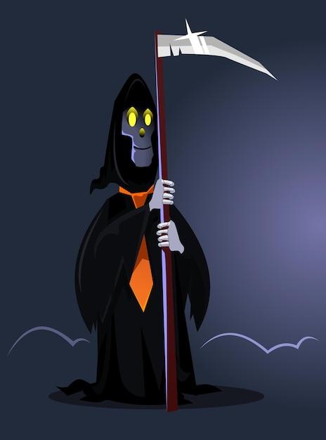 Carattere di morte sorridente felice. felice concetto di halloween. illustrazione di cartone animato piatto Vettore Premium
