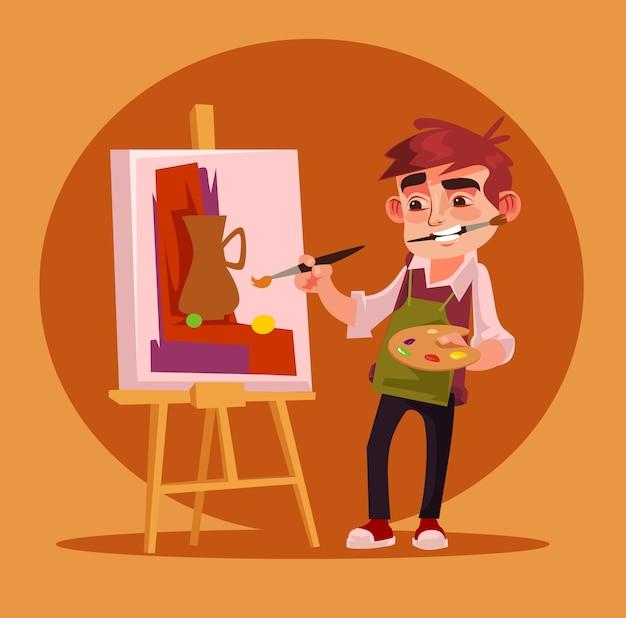 Immagine sorridente felice del disegno del personaggio dell'artista del ragazzino. Vettore Premium