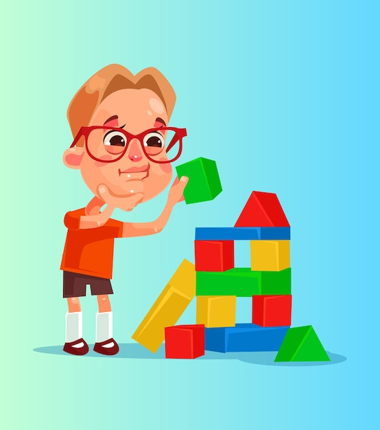 Il carattere sorridente felice del ragazzino costruisce la piramide dei cubi Vettore Premium