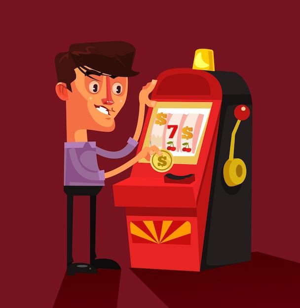 Carattere sorridente felice riuscito dell'uomo fortunato che gioca il concetto di fortuna del vincitore della roulette del gioco del casinò della slot machine isolato Vettore Premium