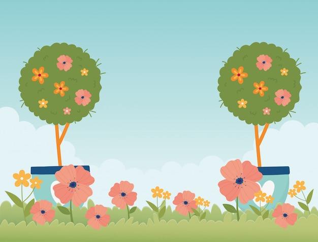 Natura felice dell'erba dei fiori degli alberi in vaso del giardino della molla Vettore Premium