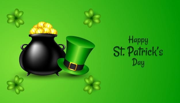 Felice giorno di san patrizio con realistico cappello verde e trifoglio trifoglio, vaso nero con monete d'oro su verde Vettore Premium