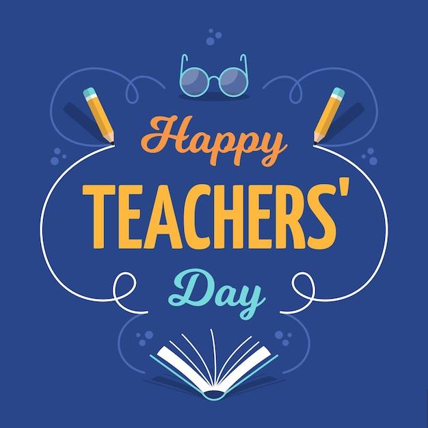 Iscrizione di saluto del giorno dell'insegnante felice Vettore Premium