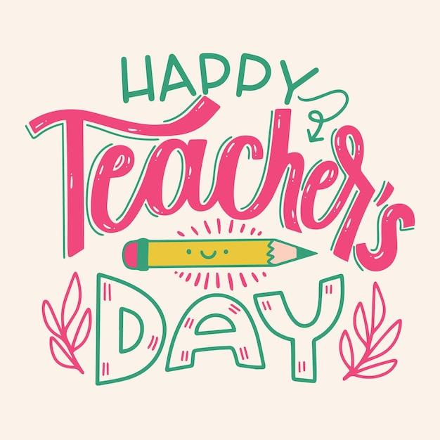 Concetto di iscrizione felice giorno degli insegnanti Vettore Premium