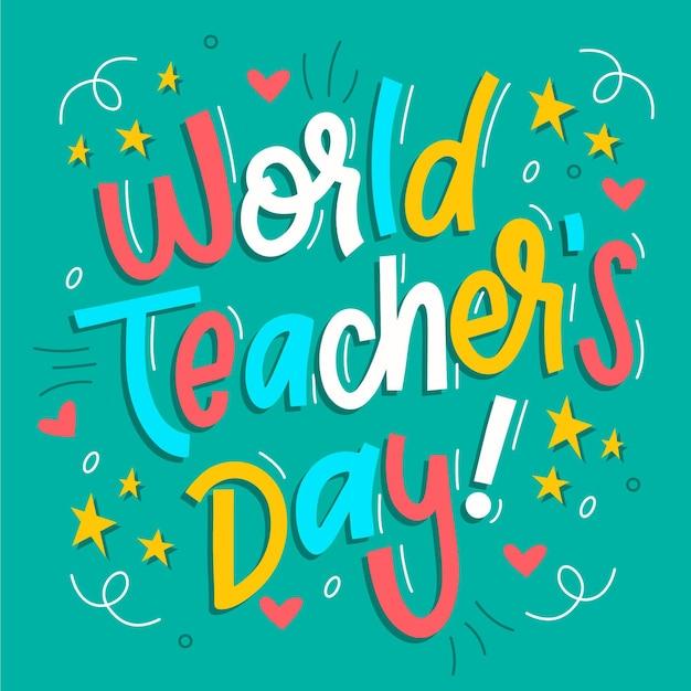 Iscrizione del giorno degli insegnanti felici Vettore Premium