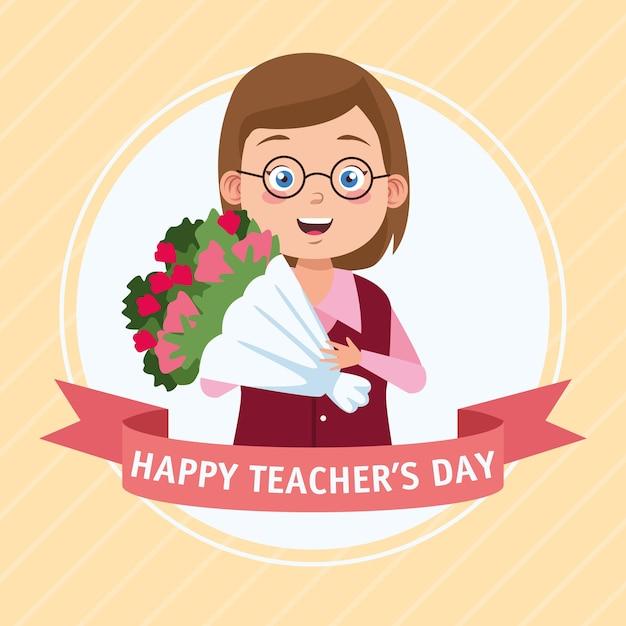 Scena felice giorno dell'insegnante con insegnante e fiori boucket. Vettore Premium