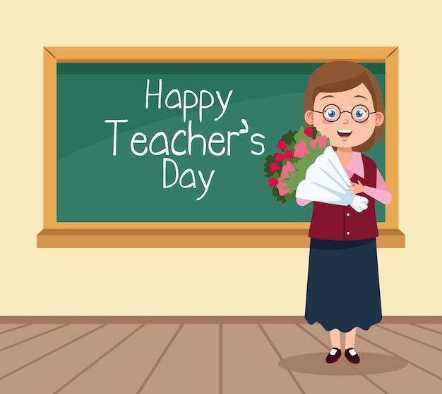 Scena felice del giorno degli insegnanti con insegnante e fiori in aula. Vettore Premium