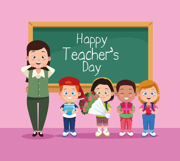 Scena felice del giorno degli insegnanti con insegnante e bambini in classe. Vettore Premium