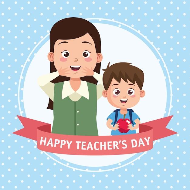 Scena del giorno dell'insegnante felice con cornice di insegnante e scolaro. Vettore Premium
