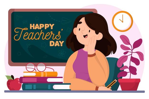 Buona giornata degli insegnanti con educatore e lavagna Vettore Premium