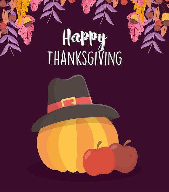 Felice giorno del ringraziamento card con mele e zucca con cappello pellegrino Vettore Premium