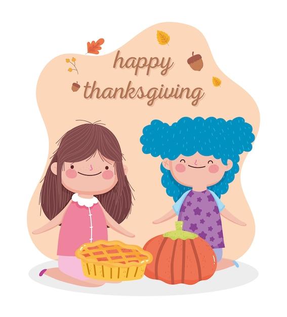 Carta felice giorno del ringraziamento con bambine carine con torta e zucca Vettore Premium