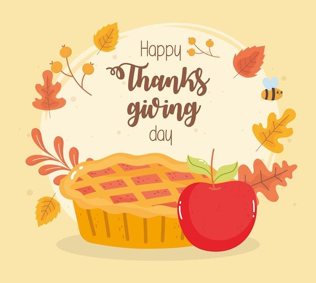 Felice giorno del ringraziamento carta con torta di zucca e foglie di autunno mela Vettore Premium