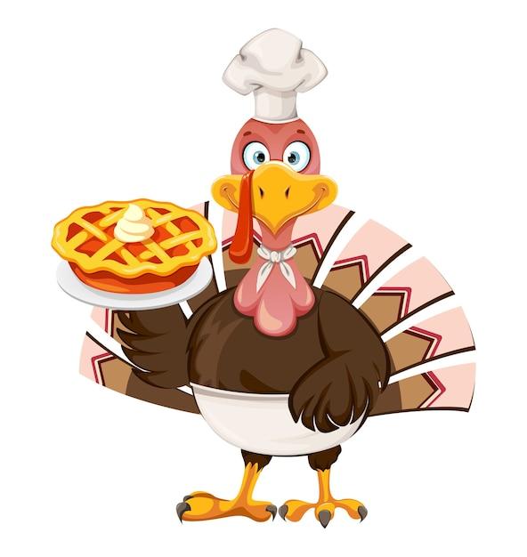 Felice giorno del ringraziamento. uccello divertente della turchia del ringraziamento Vettore Premium