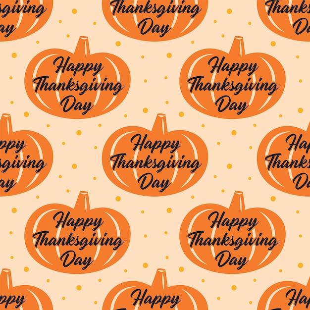 Felice giorno del ringraziamento. zucca arancione. seamless pattern Vettore Premium
