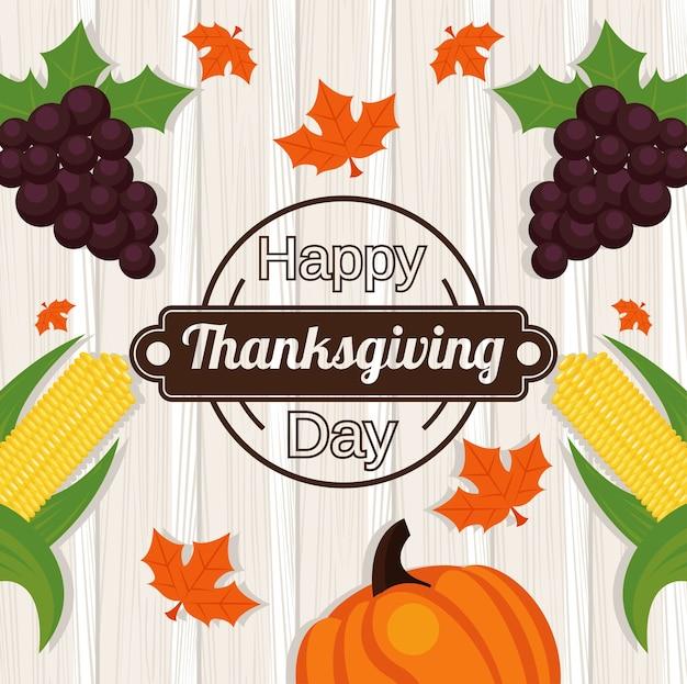 Felice giorno del ringraziamento con uva e verdure in fondo in legno. Vettore Premium