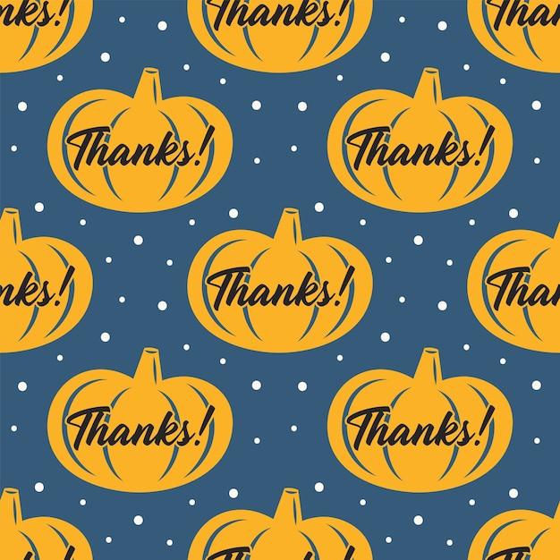 Felice giorno del ringraziamento. zucca gialla. seamless pattern Vettore Premium