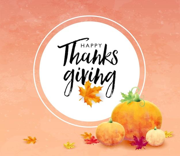 Bandiera di festa del ringraziamento felice con foglie di acero e zucca su sfondo di colore di autunno Vettore Premium