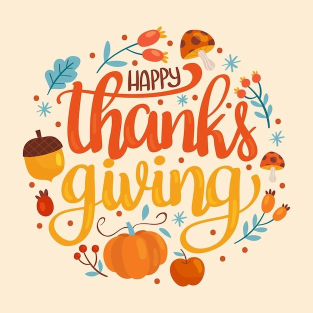 Lettering felice del ringraziamento Vettore Premium