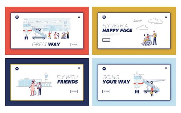 Pagine di destinazione di viaggio felici con passeggeri dei cartoni animati prima di salire a bordo di aerei e di partenza. viaggiatori del fumetto con passaporti e bagagli Vettore Premium