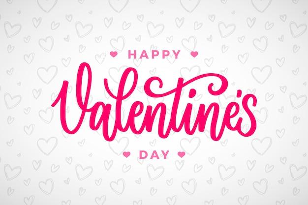 Felice giorno di san valentino lettering design Vettore Premium