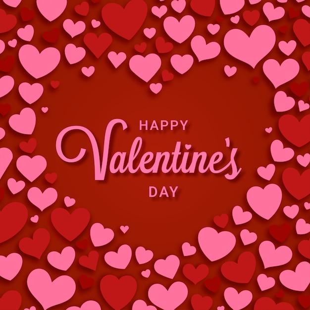 Felice giorno di san valentino con cornice di cuori decorativi Vettore Premium