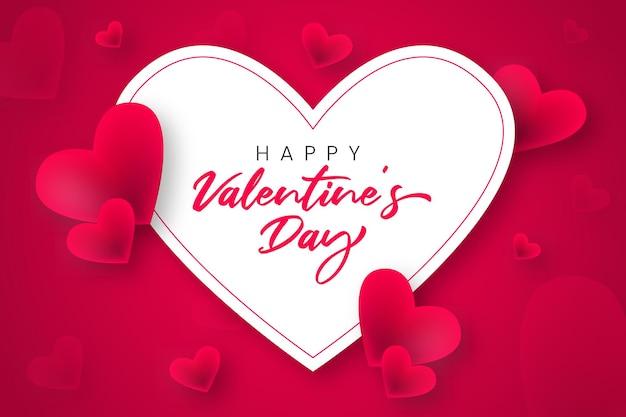 Buon san valentino sfondo con cuori Vettore Premium