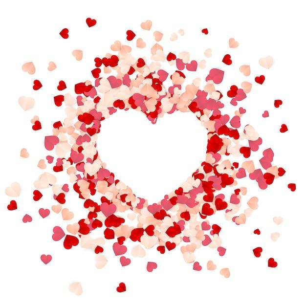 Felice giorno di san valentino sfondo di coriandoli di cuori rossi, rosa e bianchi di carta Vettore Premium