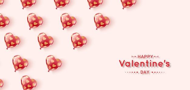 Buon san valentino. palline di gel volanti di colori rosso e rosa in un motivo di cuori d'oro. Vettore Premium