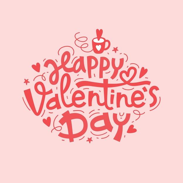 Iscrizione disegnata a mano di felice giorno di san valentino Vettore Premium