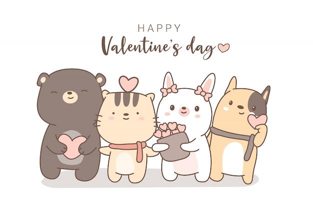 Felice giorno di san valentino con stile disegnato a mano simpatico cartone animato animale Vettore Premium