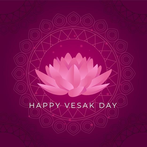Felice giorno vesak con fiore di loto Vettore Premium