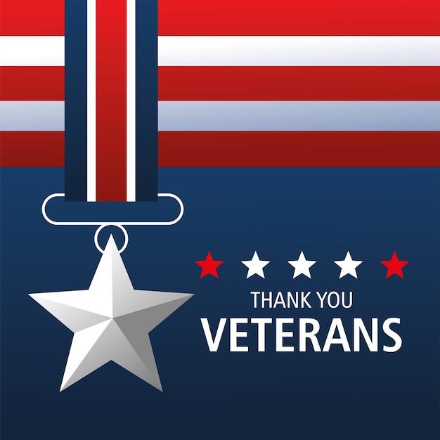 Buon giorno dei veterani, grazie card, memoriale della medaglia Vettore Premium