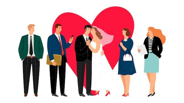 Concetto di matrimonio felice. sposi felici. vector sposa, groo e ospiti. illustrazione appena sposata Vettore Premium