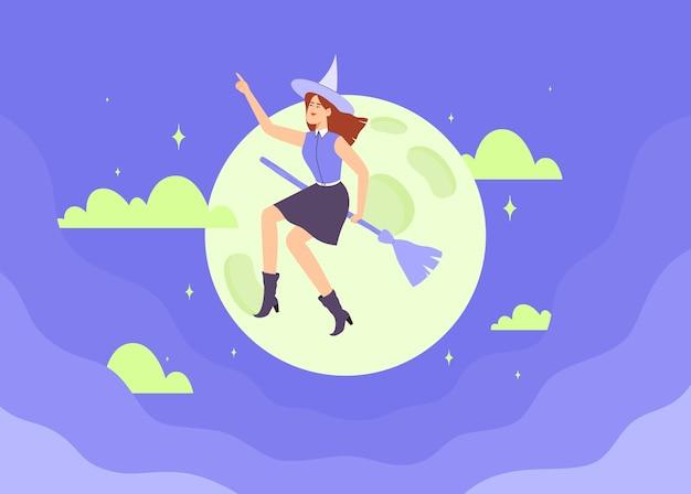 Strega felice in cappello che vola sulla scopa sopra un cielo notturno scuro blu. illustrazione di vettore piatto carattere di halloween. Vettore Premium