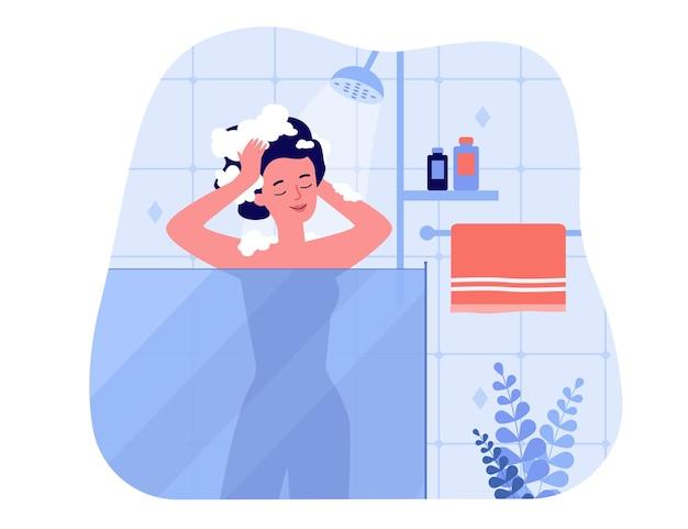 Donna felice che cattura il bagno della doccia, in piedi all'interno dell'unità di vetro, lava la testa e sorride. illustrazione per igiene, interni bagno, casa, concetti di routine mattutina Vettore Premium