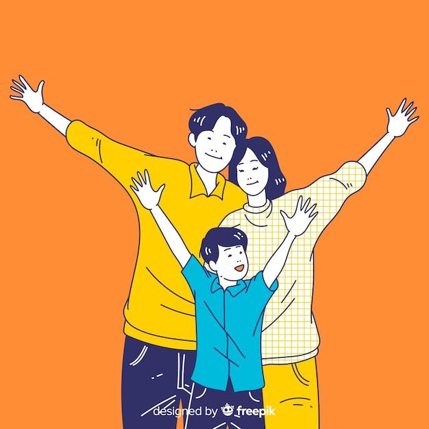 Giovane famiglia felice nello stile coreano del disegno Vettore Premium