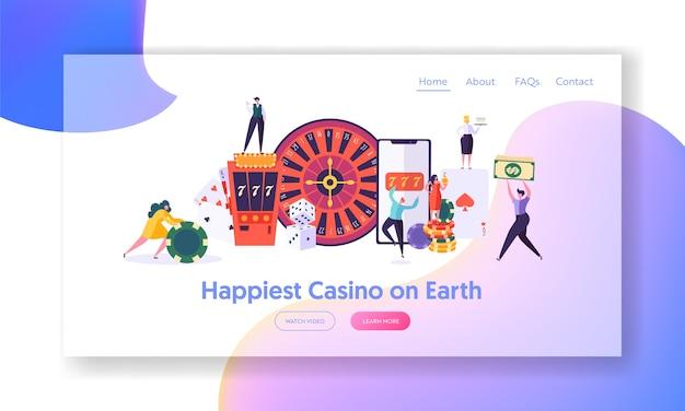 I giovani felici giocano alla pagina di destinazione della roulette. Vettore Premium