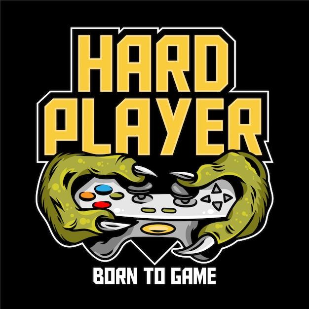Mani del giocatore duro del dinosauro mostro verde t-rex che mantengono il controller del joystick del gamepad e giocano al videogioco. icona di design personalizzato stampa illustrazione per abbigliamento geek cultura persone t-shirt design Vettore Premium