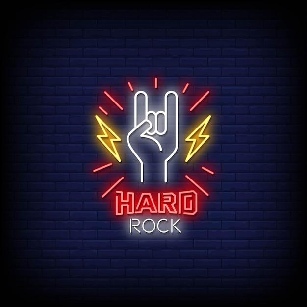 Testo di stile di insegne al neon hard rock Vettore Premium