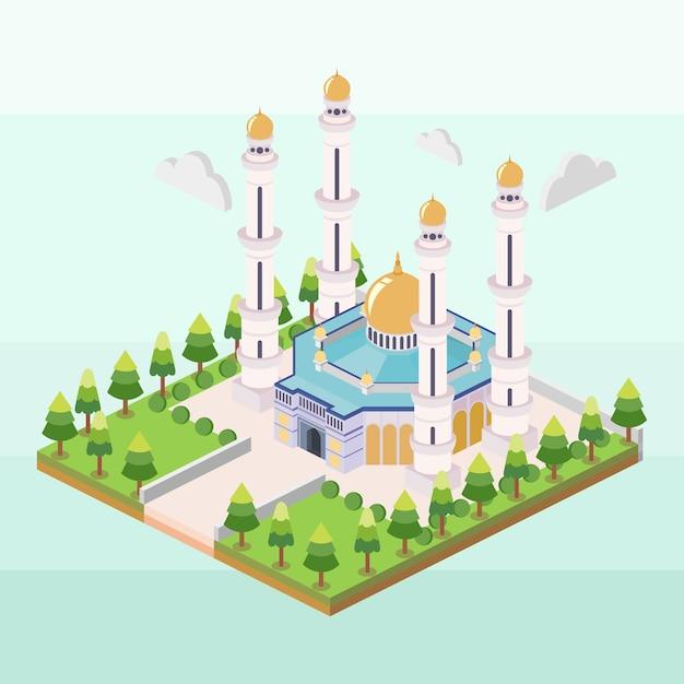 Moschea hassanil bolkiah del brunei in isometrica Vettore Premium