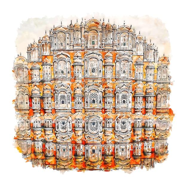 Hawa mahal jaipur india acquerello schizzo disegnato a mano illustrazione Vettore Premium